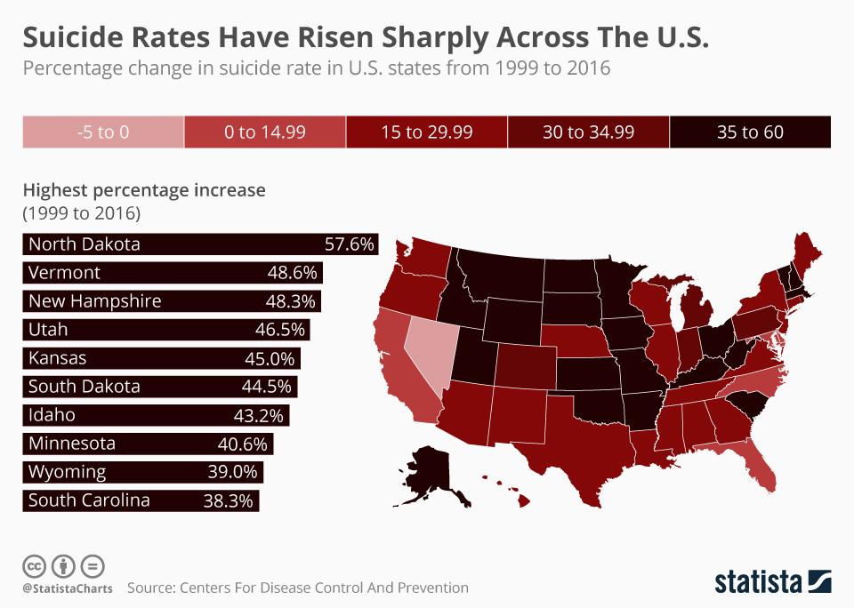US Suicide Rate Surges 30% Since 1999