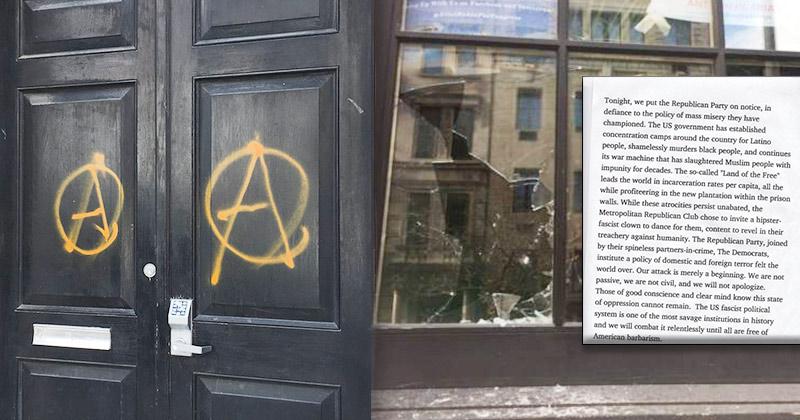 Antifa Vandalizes NYC GOP Headquarters, 'Attack Merely a Beginning'