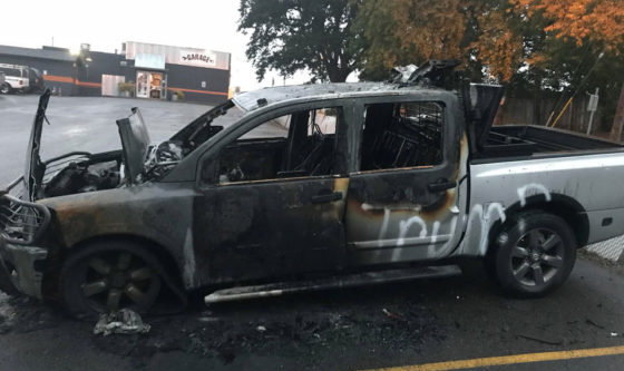 Truck Owner's Vehicle Set On FIRE Because Of Pro-Trump Stickers
